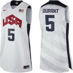 91ae5c6f9d957 2012 Usa Basketball Jersey  5 Kevin Durant White Jerseys Durant Nba