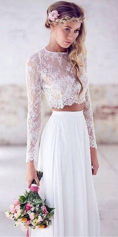 Graceful Lace & Chiffon Jewel Neckline See-through A-line Two Piece Wedding Dress