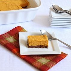 Creamy pumpkin filling on top of a chocolate crust make a perfect Thanksgiving dessert.