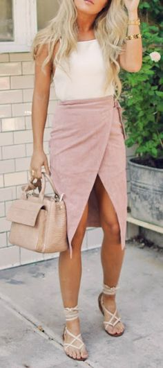 Blush wrap midi skirt.