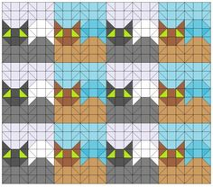 Basic tessellating cat quilt pattern.