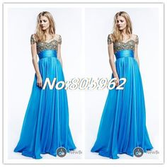 Elegant 2014 A Line Sweetheart With beaded Long Evening Dress Chiffon vestido de festa Prom Gowns With Train Short Sleeve D63 $168.99
