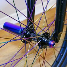Our rainbow spokes, pegs and titanium bolts looking fresh on 's latest ride 😍 Bmx Bicycle, Bmx Bikes, Bmx Pegs, Bmx Wheels, Bike Wheel, Rainbow, Fresh, Beanies, Bicycle Wheel