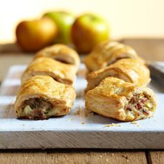 Perfect for nibbles or as a starter, try this recipe for apple and bacon sausage rolls - made with Jus-Rol's all butter puff pastry and best served warm.