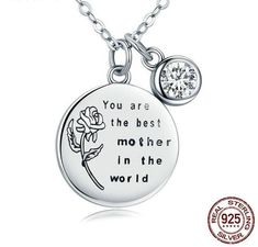 You Are The Best Mother In The World Sterling Silver Rose Necklace Sterling Silver Flowers, Sterling Silver Rings, Silver Roses, Silver Bracelets, Silver Earrings, Rose Necklace, Mother Necklace, Garnet Necklace, Pendant Necklace