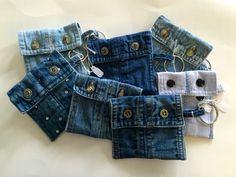 Key chain coin pouches recycled denim shirt cuffs