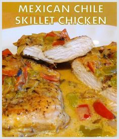 Easy and so delicious! I used green chiles as I am a spice chicken, but if you like the heat, you may prefer to use jalapenos (either fresh or canned). Recipe Using Chicken, Homemade Chicken Stock, Easy Skillet Meals, Skillet Chicken, Mexican Food Dishes, Mexican Food Recipes, Low Carb Recipes, Healthy Recipes, Skinny Recipes