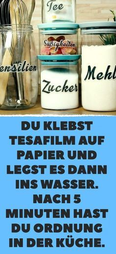 You stick scotch tape on paper and then put it in the water. After 5 minutes you are in order in the kitchen. You stick scotch tape on paper and then put it in the water. After 5 minutes you are in order in the kitchen. Diy Kitchen Projects, Diy Projects To Try, Kitchen Craft, Diy Makeup, Makeup Tips, Makeup Hacks, Makeup Crafts, Life Hacks, Scotch Tape