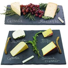 Impress your guests with these natural slate serving boards. This set features two different sized slate boards to serve appetizers, cheese, bread, cookies or cupcakes. #hostessgifts