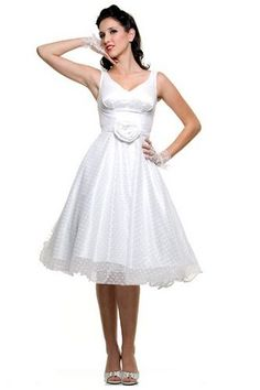 50's White Polka Dot Mesh Grace Wedding Dress