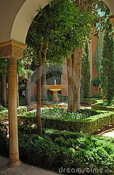 Photo about Green decorative plants in landscaped Alhambra Palace gardens, Granada, Spain. Image of decorative, moorish, greenery - 17874335 Paradise Garden, Moon Garden, Dream Garden, Alhambra Palace, Formal Gardens, Outdoor Gardens, Wonderful Places, Beautiful Places, Landscape Design