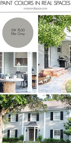 Home Tour: Nature-Inspired Neutrals Ellie Gray (SW by Sherwin Williams: see paint colors in real spaces in this home tour full of lovely, nature-inspired neutrals Exterior Gray Paint, Exterior Paint Schemes, Exterior Paint Colors For House, Paint Colors For Home, Exterior Design, Best Neutral Paint Colors, Paint Colours, Room Colors, Wall Colors