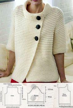 Двойной платочный узор: 1-й ряд (лиц. сторона): изн. п. 2-й ряд: изн. п., 3-4 ряды: лиц. п. Повторять ряды 1-4 для узора Плотность вязания: 18 п.*36 р. =10*10 см. Crochet Box Stitch, Knit Crochet, Knitting Patterns, Crochet Patterns, Cardigan Pattern, Crochet Fashion, Crochet Clothes, Pulls, Knitwear