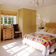 Yellow Ochre Bedroom I Love That Quilt On The Bed And Lowboy Dresser