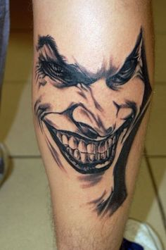 f3869cf897 Joker Tattoos Design, One off Cool Clown Tattoo, Marcus would love this  Mäns Tatueringar