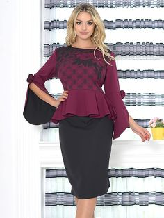 Compleu Fusta si Bluza Feyza 67 Peplum Dress, Board, Floral, Casual, Dresses, Fashion, Gowns, Moda, Fashion Styles