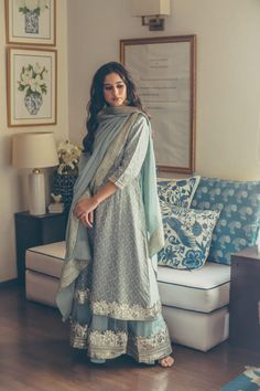 Blue Baby Boota Set Maisara Clothing is part of Pakistani dress design - Pakistani Dress Design, Pakistani Outfits, Dress Indian Style, Indian Dresses, Ethnic Outfits, Indian Outfits, Trendy Outfits, Indian Attire, Indian Wear