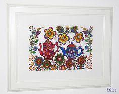 taliaa / Čajníky v záhrade Copic, Frame, Home Decor, Paper, Picture Frame, Decoration Home, Room Decor, Frames, Home Interior Design