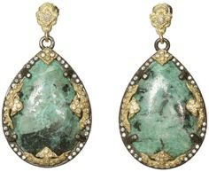 Armenta Midnight Pear Chrysacolla Earring in Green