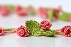 Crochet  Rose Garden Necklace (or bracelet, garland, etc)