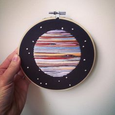 "453 Likes, 11 Comments - RiverBirchThreads (@riverbirchthreads) on Instagram: ""The 5th planet from the sun. #Jupiter ✨⭐️ • 6 inch hoop • Available on Etsy • • • #embroidery…"""