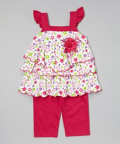 Love this Fuchsia Star Tiered Tunic  Capris - Infant, Toddler  Girls on #zulily! #zulilyfinds