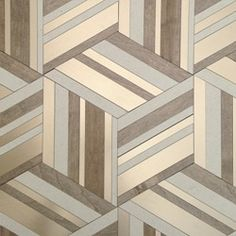 Cubic Tile - Honed Chablis Limestone, Nougat Wood and Bronze Metal.