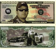 Dale Jr on the million dollar bill Nascar Apparel, John Wayne Western Movies, One Million Dollar Bill, Money Notes, Rare Coins Worth Money, Paper Car, Nascar Cars, A Discovery Of Witches, Business Checks