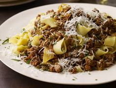 If you can't find veal, ground sirloin is okay to use. Ingredients Salt 1 pound pappardelle or other wide, flat pasta 2 tablespoons extra virgin olive oil (EVOO) 1 tablespoon butter 1 1/2 pounds ground veal Pepper 1 onion, finely chopped 2 cloves garlic, finely chopped 2 sprigs rosemary, finely chopped 2 tablespoons tomato paste …
