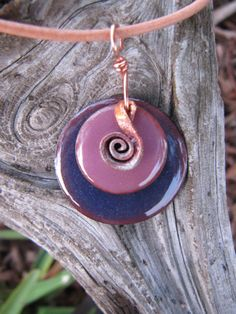 Enamel Jewelry, Enameled Disc Pendant, Copper Metalwork. $23.00, via Etsy.