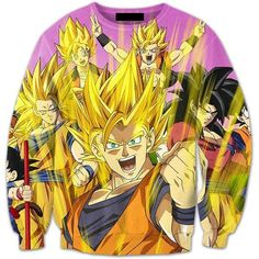 5a67fbc55536 Super Saiyan Celebration Cool Happy Goku Yellow Aura 3D Sweatshirt. Saiyan  Stuff