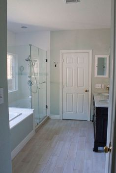 Paint color is RH Silver Sage and Trim is White Dove All tile came from Lowes, floor grout is Haystack from HD.
