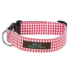 Halsband für Hunde rot kariert