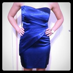 Cobalt Blue Strapless Party Dress Sweetheart and ruched on the sides Zipper in the back with satin feel 95% Polyester 5% Spandex Dresses Mini