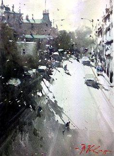 Joseph Zbukvic - Winter Evening, Melbourne 26x35cm