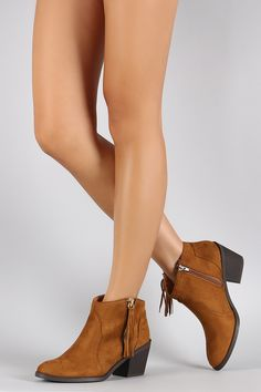 Soda Side Fringe Tassel Western Ankle Boots