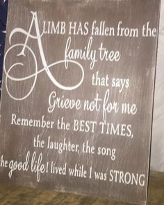 Details about A Limb Has Fallen From Our Family Tree Sign personalized, Death Loss In Memory - Dad - Celebration of life Funeral Planning, Funeral Ideas, Remembrance Quotes, Christmas Presents For Dad, Memorial Gifts, Memorial Ideas, Funeral Memorial, In Memory Of Dad, Memory Tree