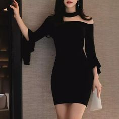 - 2018 Spring Women Dress Sexy Party Dress Office Bandage Bodycon Dresses O-Neck Sleeves Dresses - Kpop Fashion Outfits, Ulzzang Fashion, Korean Outfits, Mode Outfits, Cute Casual Outfits, Girly Outfits, Cute Fashion, Look Fashion, Pretty Outfits