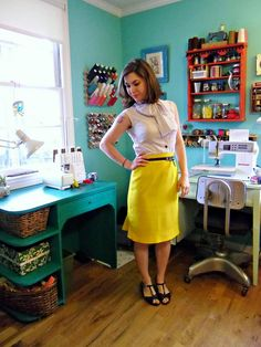 Cotton batiste top and wool crepe skirt, by Mood Sewing Network blogger Lladybird. #moodfabrics