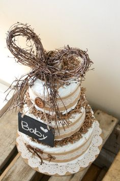 Rustic Inspired Diaper Cake by MckayCakesnCrafts on Etsy