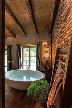 Luxury bathtub and gorgeous bathroom decor with exposed brick wall Luxury bathtub and gorgeous bathroom decor with exposed brick wall Related posts:Dies ist eines der süßesten Pullover-OutfitsWork on Best House Interior Design to Transfrom Your House Rustic Bathrooms, Dream Bathrooms, Beautiful Bathrooms, Rustic Cabin Bathroom, Log Cabin Bathrooms, Beach Bathrooms, Modern Bathrooms, Future House, Style At Home