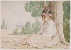 "Paul Kane's 1847  painting of Indian at Ft. Vancouver, Washington, next to Portland, Oregon ""....arrived safely at Fort Vancouver on the 20th of June....I took a sketch of a Chinook boy with a singular headdress of beads, the design seemed to be entirely original with him, as I had never before met with any resembling it."" Kane, Wanderings, Chapter XVI  Although Kane identified the figure as a boy, it is more likely a girl."