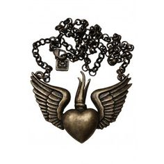 Winged Sacred Necklace Antique Brass