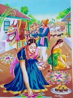 Discover some of the most pretty Pongal kolam designs and Sankranti rangoli patterns in here. Make these kolam designs and decorate your home for Pongal. Art Village, Village Scene Drawing, Indian Village, Indian Women Painting, Indian Art Paintings, Oil Paintings, Abstract Paintings, Art Sketches, Art Drawings