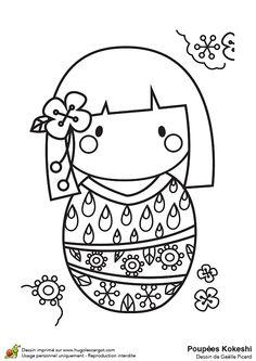 Le kimono de la poupée Kokeshi est décoré des fleurs et de gouttes d'eau, coloriage pour enfants