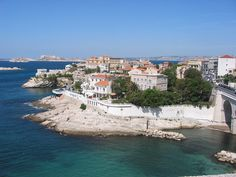 """Marseille - View of the """"Petit Nice"""" on the Corniche with Frioul and Château d'If in the background"""