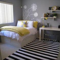 Yellow and Gray Bedroom, Contemporary, bedroom, Benjamin Moore Pigeon Gray