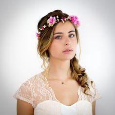 Couronne de fleurs fuchsia et vert anis Emma - Mariage : Accessoires coiffure par nuagecolore