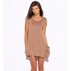 Short Sleeve Tee Tunic Top / Mini Dress Mocha. New This is a new tunic dress that comes in sizes small and medium. Dresses Midi