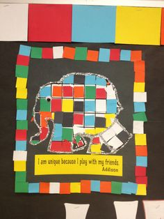 Close up of Elmer the Elephant for bulletin board. Eyfs Classroom, Classroom Displays, Classroom Themes, Kindergarten Reading, Kindergarten Activities, Book Activities, Alphabet Display, Elmer The Elephants, Harmony Day